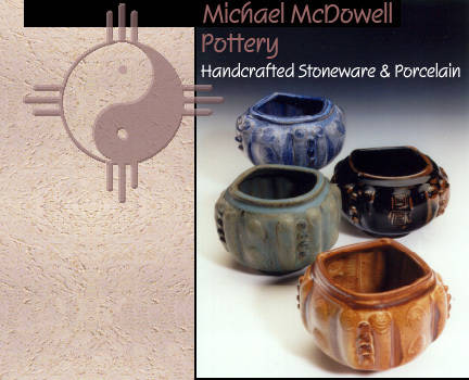 {Wheel thrown forms, altered, with stamps, slips, and sprigged decoration, and a variety of glazes